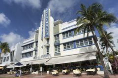 Famous art deco district of Ocean Drive in South Beach Miami, USA Stock Photo