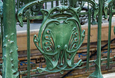 Famous Art Nouveau sign for the Metropolitain underground system.  Royalty Free Stock Photos