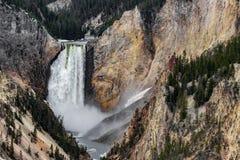 Yellowstone artist point waterfall stock photography