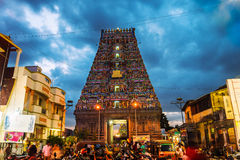 Famous Arulmigu Kapaleeswarar Temple in Chennai, India. Famous Arulmigu Kapaleeswarar Temple in Chennai, Tamil Nadu, India at night. Illuminated entrance with stock photo