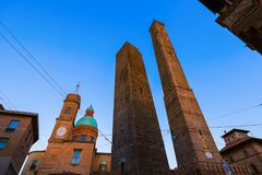Famous Asinelli tower in Bologna Italy. Architecture background Stock Images
