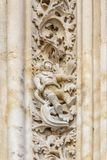 The famous astronaut carved in stone in the Salamanca Cathedral Facade royalty free stock image