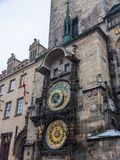 Famous astronomical clock chimes in Prague on the Old Town Square royalty free stock image
