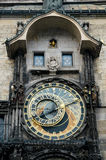 The famous astronomical clock of the old Prague's town hall Stock Photos