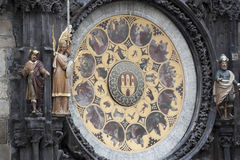 The famous astronomical clock on the Old Town Square in Prague. Royalty Free Stock Images