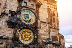 Famous astronomical clock in Prague stock photos