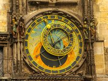 The famous Astronomical Clock at the southern side of the Old Town Hall Tower in Prague, Czech Republic stock photos