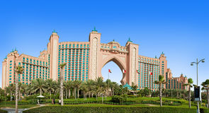 The famous Atlantis hotel on the Palm Island Stock Photo