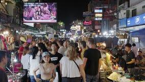 Famous backpackers street Khao San Road in Bangkok, Thailand stock video