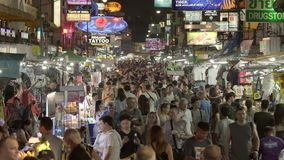 Famous backpackers street Khao San Road with lots of budget bars, cafes and guesthouses. stock video