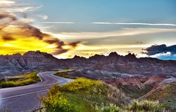 Famous Badlands Road Royalty Free Stock Images