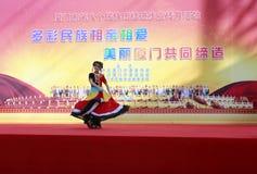 The famous bai nationality diva heyujie wearing bai people clothing singing Stock Images