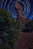 Balanced Rock at Night with Star Trails Royalty Free Stock Image