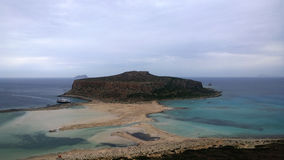 The famous Balos Bay and the confluence of three seas in cloudy weather Stock Photo