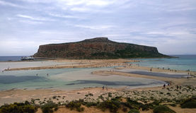The famous Balos Bay and the confluence of three seas in cloudy weather Stock Photos