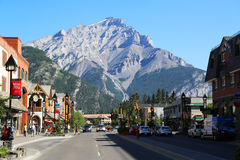 The famous Banff Avenue in Banff National Park royalty free stock photos