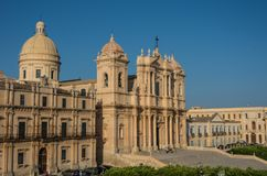 The famous baroque cathedral of Noto in sunset. View from bellto. Wer of St. Charles Church. Sicily, Italy Stock Photo