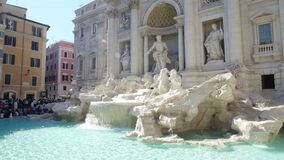 Famous baroque Trevi fountain in Rome, popular touristic place in Italy. Stock footage stock video footage