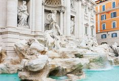 Famous baroqueTrevi fountain in Rome royalty free stock photography