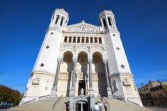 Famous Basilica of Notre-Dame de Fourviere Stock Images