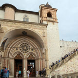 Famous Basilica of St. Francis of Assisi Basilica Papale di San Francesco. ASSISI, ITALY 30 JUNE, 2017: Famous Basilica of St. Francis of Assisi Basilica Papale Royalty Free Stock Images