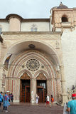 Famous Basilica of St. Francis of Assisi Basilica Papale di San Francesco. ASSISI, ITALY 30 JUNE, 2017: Famous Basilica of St. Francis of Assisi Basilica Papale Stock Photos