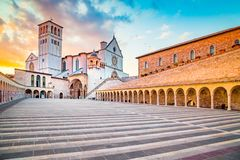 Basilica of St. Francis of Assisi at sunset, Assisi, Umbria, Italy royalty free stock photography