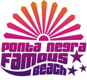 Famous beach. Describing the famous beaches colored Ponta Negra t-shirt graphic design stock illustration