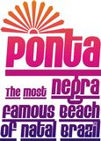 Famous beach. Describing the famous beaches colored Ponta Negra t-shirt graphic design royalty free illustration