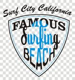 Famous beach. Describing the famous surf beaches colored california t-shirt graphic design royalty free illustration