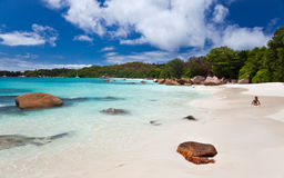 The famous beach of Anse Lazio, Seychelles Royalty Free Stock Photos