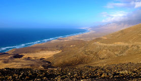 Famous beach Cofete on the Canary island Fuerteventura, Spain. Royalty Free Stock Photo