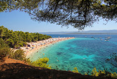 Famous beach in Croatia. Famous beach in Bol on Island Brac in Croatia Royalty Free Stock Photos