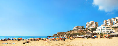 Famous beach Golden Bay in Malta. Panoramic view of famous beach Golden Bay in Malta stock photo