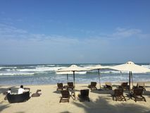 Danang beach. Famous beach in Hyatt Regency Danang Resort and Spa Stock Images