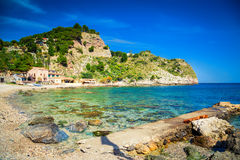 Famous beach Isola Bella. At Sicily, Italy royalty free stock photography