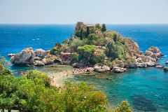 Famous beach Isola Bella at Sicily, Italy Royalty Free Stock Images