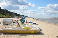 Famous beach of Latvian resort town Jurmala Stock Photos