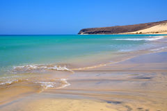 Famous beach Sotavento on Fuerteventura, Spain. View on one of the best beaches in the world Sotavento on the Canary island Fuerteventura, Spain Royalty Free Stock Photography