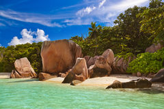 Famous beach Source d'Argent at Seychelles Royalty Free Stock Photo