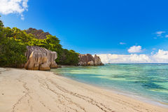 Famous beach Source d'Argent at Seychelles Stock Images