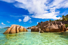Famous beach Source d'Argent at Seychelles Royalty Free Stock Image