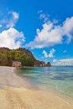 Famous beach Source d'Argent at Seychelles Stock Image