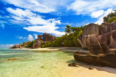 Famous beach Source d'Argent at Seychelles Stock Image