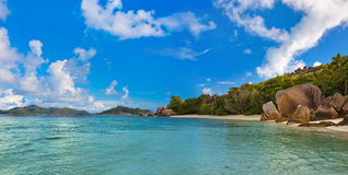 Famous beach Source d'Argent at Seychelles Royalty Free Stock Images