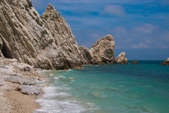 The famous beach of two sisters (Spiaggia delle due sorelle) Royalty Free Stock Images