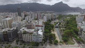 Famous beaches and squares of the world. Aerial view of Leblon beach and garden of Allah`s Square. Rio de Janeiro Brazil. Famous beaches and squares of the stock video