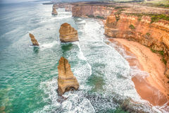 Famous beautiful 12 apostles in Australia. From above Royalty Free Stock Images