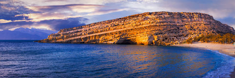 Famous beautiful beaches of Greece - Matala in Crete island. Beautiful Matala,Crete Island,Greece,panoramic view Royalty Free Stock Image