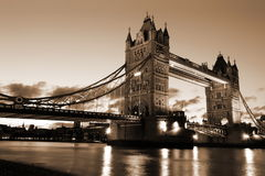 Famous and Beautiful  Evening View of Tower Bridge, London, UK Stock Photos